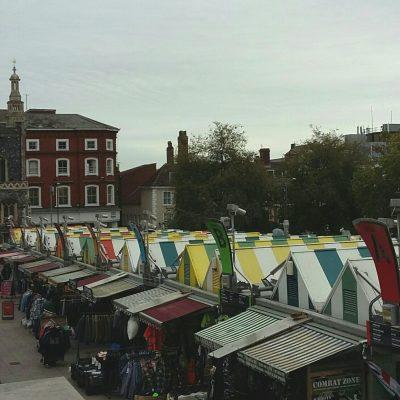 Norwich market rooftops