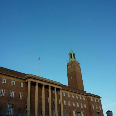 Blue sky over Norwich City Hall