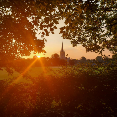 Norwich Cathedral from across the Norwich School Playing Field