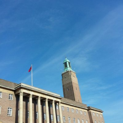 Norwich City Hall in the sunshine