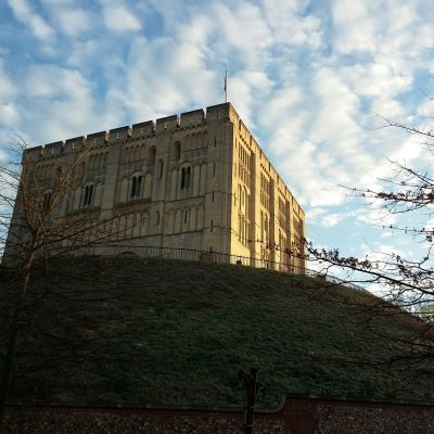 Norwich Castle covered in frost