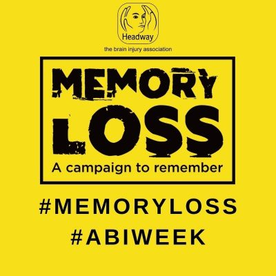 Memory loss profile picture yellow with headway the brain injury association logo