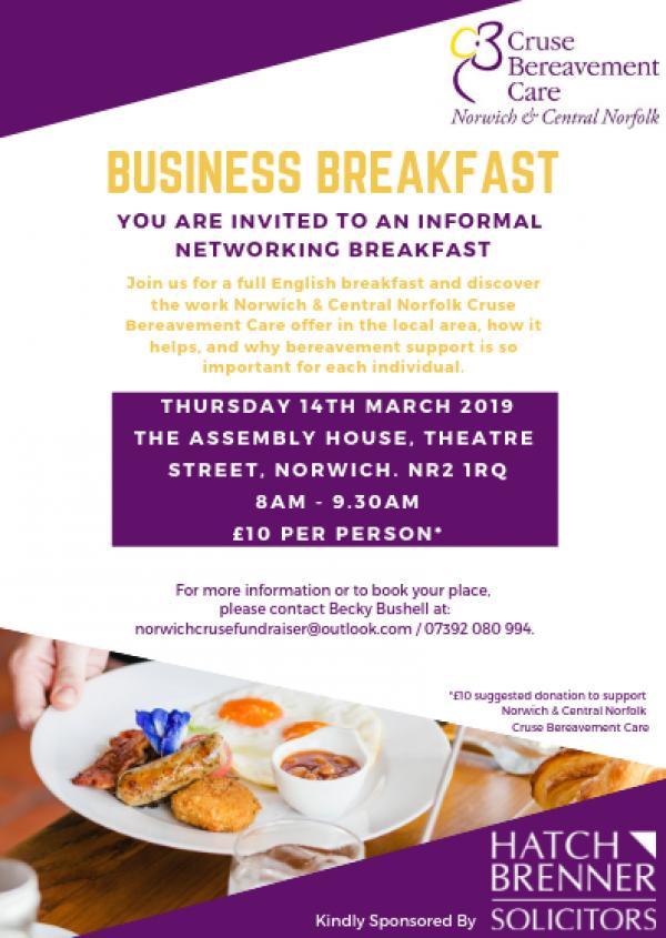 Cruse Norwich Business Breakfast 2019 Event Flyer