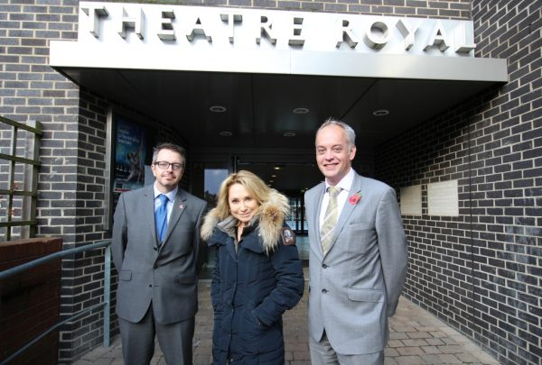 Colin Cook and Mark Fitch from Hatch Brenner meet Felicity Kendal at Norwich Theatre Royal